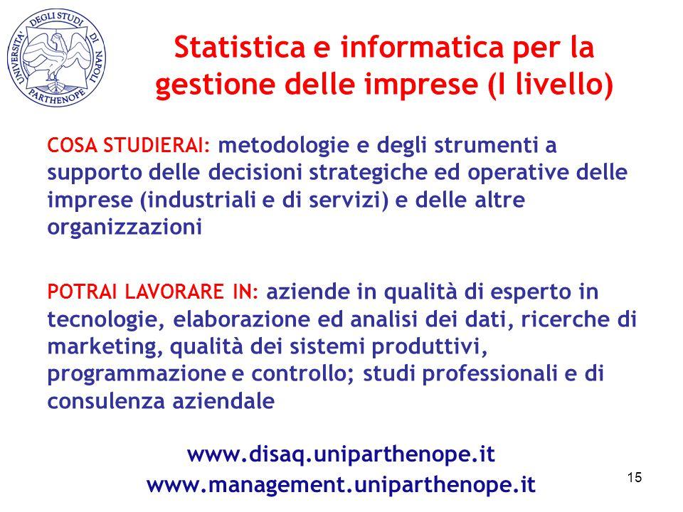 COSA STUDIERAI: metodologie e degli strumenti a supporto delle decisioni strategiche ed operative delle imprese (industriali e di servizi) e delle alt
