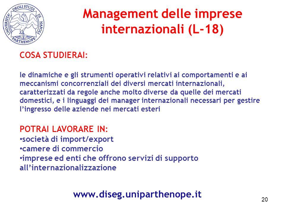 COSA STUDIERAI: le dinamiche e gli strumenti operativi relativi ai comportamenti e ai meccanismi concorrenziali dei diversi mercati internazionali, ca