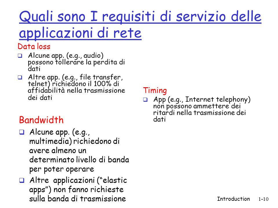 Introduction1-10 Quali sono I requisiti di servizio delle applicazioni di rete Data loss  Alcune app. (e.g., audio) possono tollerare la perdita di d