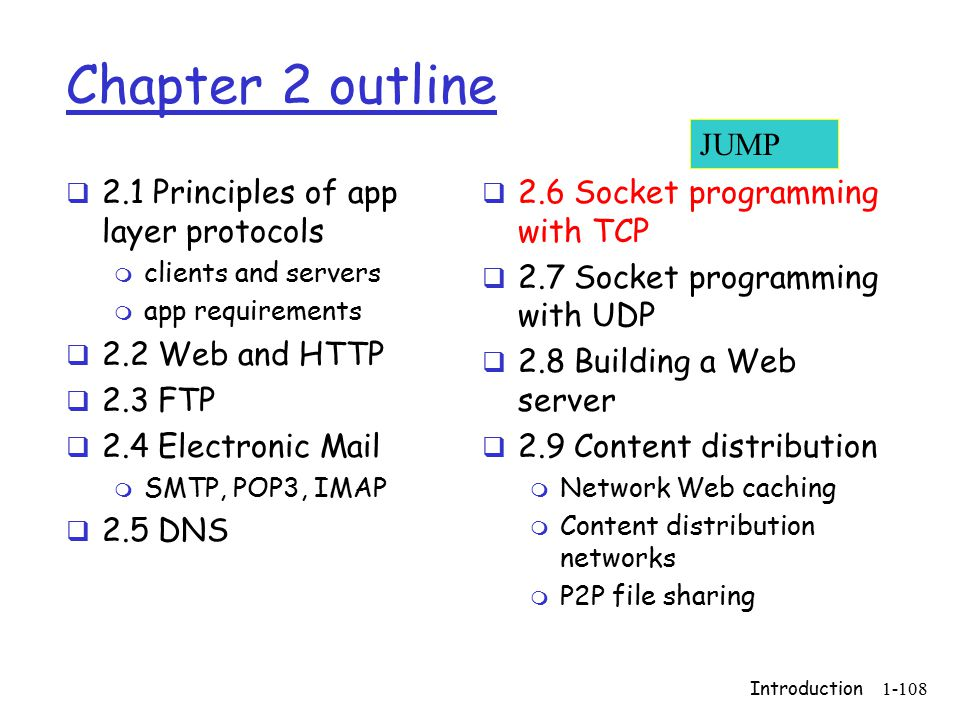 Introduction1-108 Chapter 2 outline  2.1 Principles of app layer protocols m clients and servers m app requirements  2.2 Web and HTTP  2.3 FTP  2.4 Electronic Mail m SMTP, POP3, IMAP  2.5 DNS  2.6 Socket programming with TCP  2.7 Socket programming with UDP  2.8 Building a Web server  2.9 Content distribution m Network Web caching m Content distribution networks m P2P file sharing JUMP