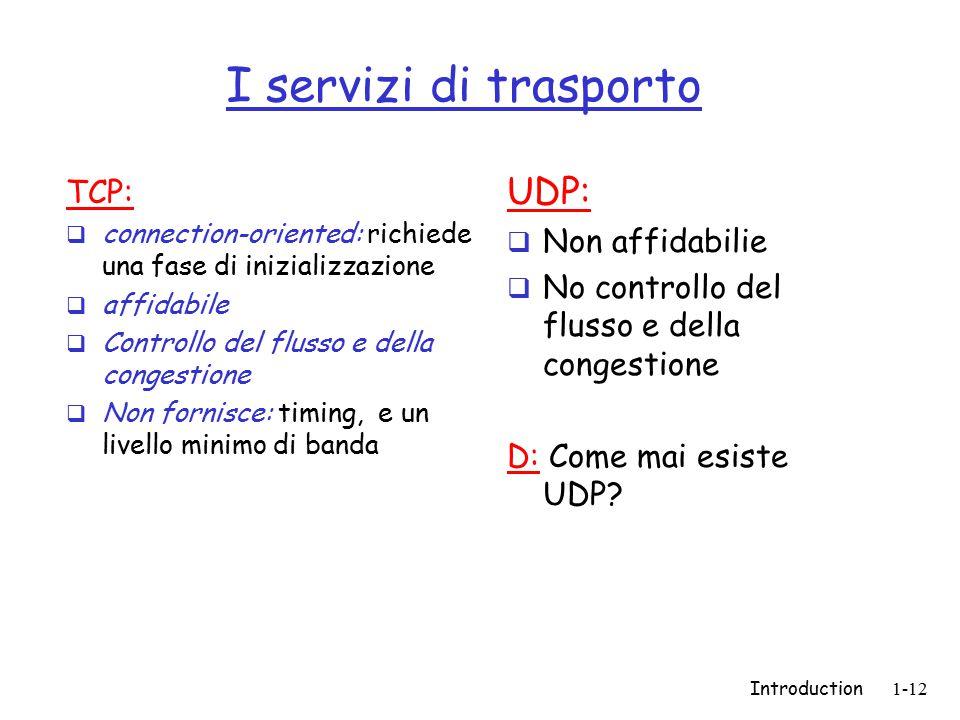 Introduction1-12 I servizi di trasporto TCP:  connection-oriented: richiede una fase di inizializzazione  affidabile  Controllo del flusso e della congestione  Non fornisce: timing, e un livello minimo di banda UDP:  Non affidabilie  No controllo del flusso e della congestione D: Come mai esiste UDP