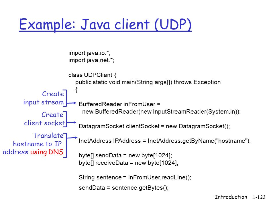 Introduction1-123 Example: Java client (UDP) import java.io.*; import java.net.*; class UDPClient { public static void main(String args[]) throws Exception { BufferedReader inFromUser = new BufferedReader(new InputStreamReader(System.in)); DatagramSocket clientSocket = new DatagramSocket(); InetAddress IPAddress = InetAddress.getByName( hostname ); byte[] sendData = new byte[1024]; byte[] receiveData = new byte[1024]; String sentence = inFromUser.readLine(); sendData = sentence.getBytes(); Create input stream Create client socket Translate hostname to IP address using DNS