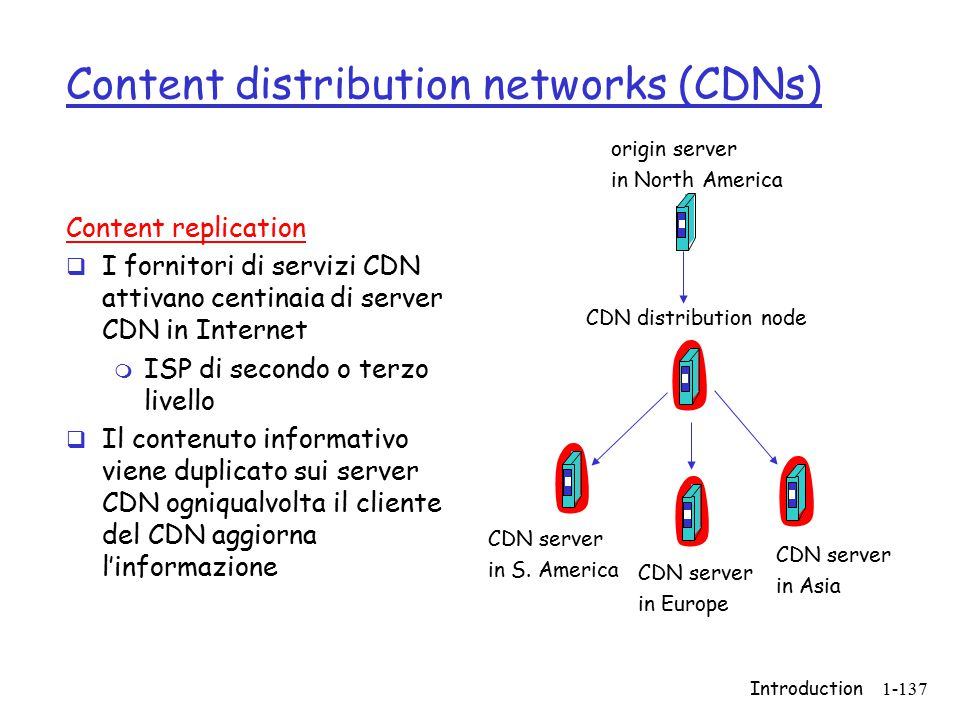 Introduction1-137 Content distribution networks (CDNs) Content replication  I fornitori di servizi CDN attivano centinaia di server CDN in Internet m ISP di secondo o terzo livello  Il contenuto informativo viene duplicato sui server CDN ogniqualvolta il cliente del CDN aggiorna l'informazione origin server in North America CDN distribution node CDN server in S.