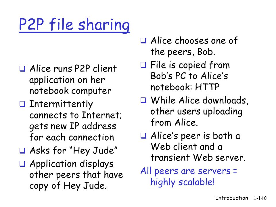 Introduction1-140 P2P file sharing  Alice runs P2P client application on her notebook computer  Intermittently connects to Internet; gets new IP address for each connection  Asks for Hey Jude  Application displays other peers that have copy of Hey Jude.