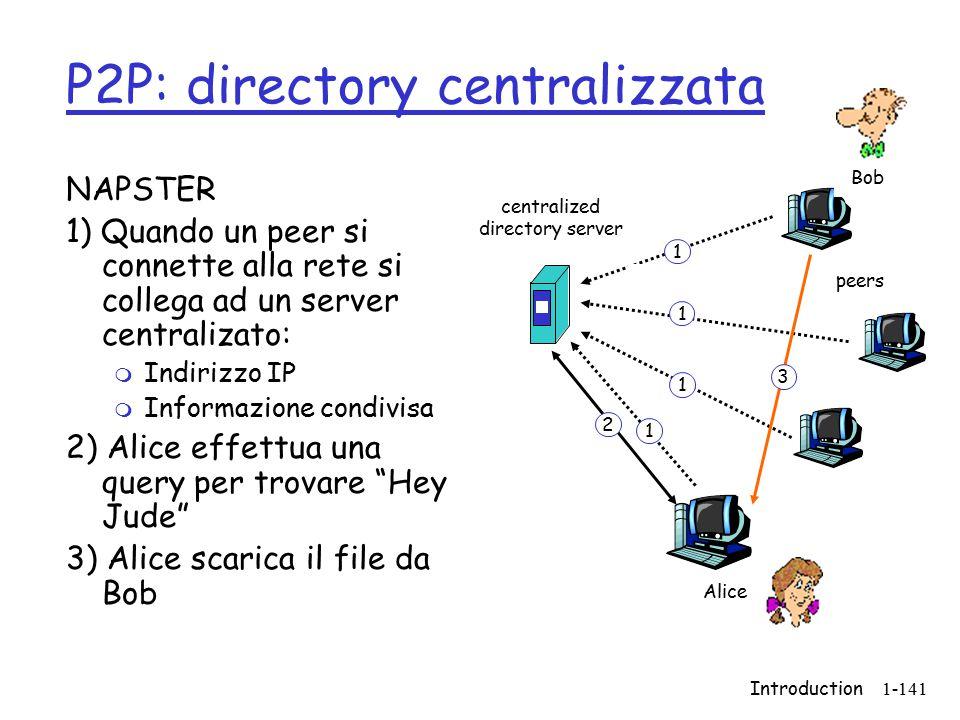 Introduction1-141 P2P: directory centralizzata NAPSTER 1) Quando un peer si connette alla rete si collega ad un server centralizato: m Indirizzo IP m Informazione condivisa 2) Alice effettua una query per trovare Hey Jude 3) Alice scarica il file da Bob centralized directory server peers Alice Bob 1 1 1 1 2 3