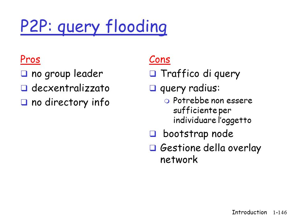 Introduction1-146 P2P: query flooding Pros  no group leader  decxentralizzato  no directory info Cons  Traffico di query  query radius: m Potrebbe non essere sufficiente per individuare l'oggetto  bootstrap node  Gestione della overlay network
