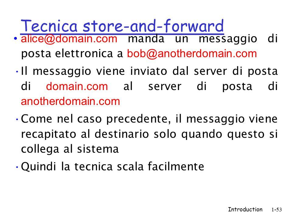 Introduction1-53 Tecnica store-and-forward alice@domain.com manda un messaggio di posta elettronica a bob@anotherdomain.com Il messaggio viene inviato