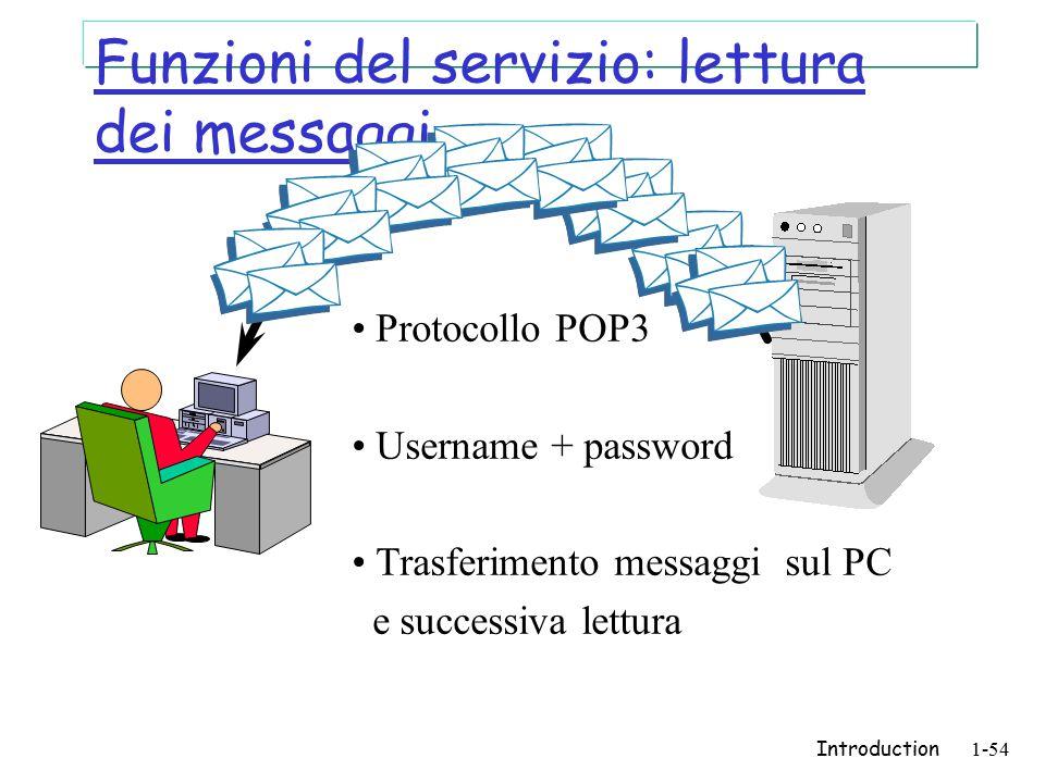 Introduction1-54 Funzioni del servizio: lettura dei messaggi Protocollo POP3 Username + password Trasferimento messaggi sul PC e successiva lettura