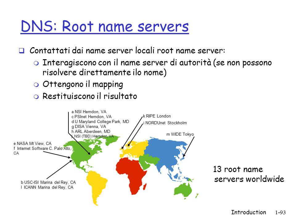 Introduction1-93 DNS: Root name servers  Contattati dai name server locali root name server: m Interagiscono con il name server di autorità (se non possono risolvere direttamente ilo nome) m Ottengono il mapping m Restituiscono il risultato b USC-ISI Marina del Rey, CA l ICANN Marina del Rey, CA e NASA Mt View, CA f Internet Software C.