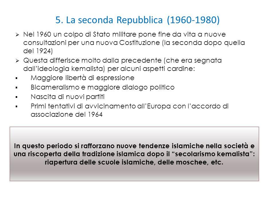 5. La seconda Repubblica (1960-1980)  Nel 1960 un colpo di Stato militare pone fine da vita a nuove consultazioni per una nuova Costituzione (la seco