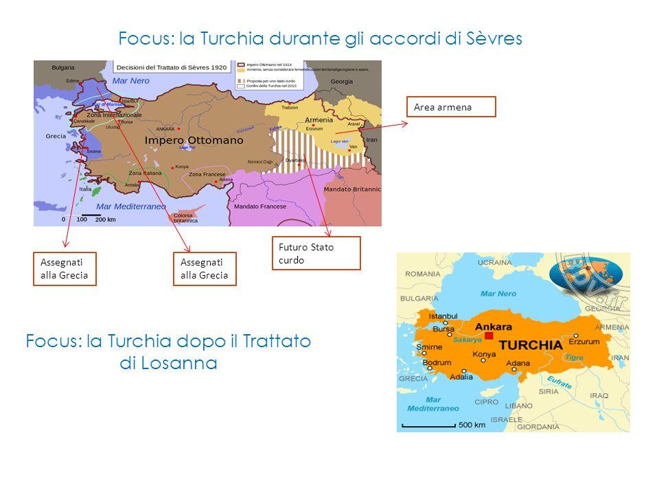 Focus: la Turchia durante gli accordi di Sèvres Assegnati alla Grecia Futuro Stato curdo Area armena Focus: la Turchia dopo il Trattato di Losanna