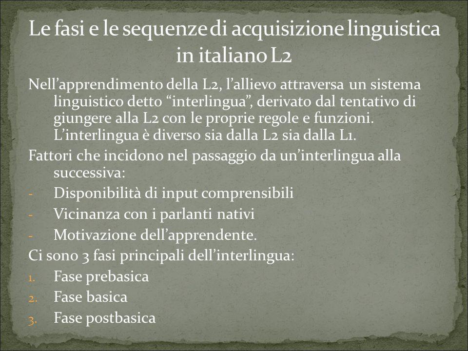 """Nell'apprendimento della L2, l'allievo attraversa un sistema linguistico detto """"interlingua"""", derivato dal tentativo di giungere alla L2 con le propri"""