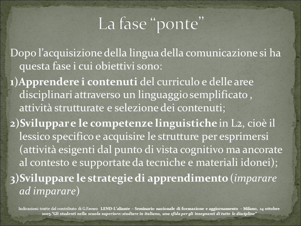 Dopo l'acquisizione della lingua della comunicazione si ha questa fase i cui obiettivi sono: 1)Apprendere i contenuti del curriculo e delle aree disci
