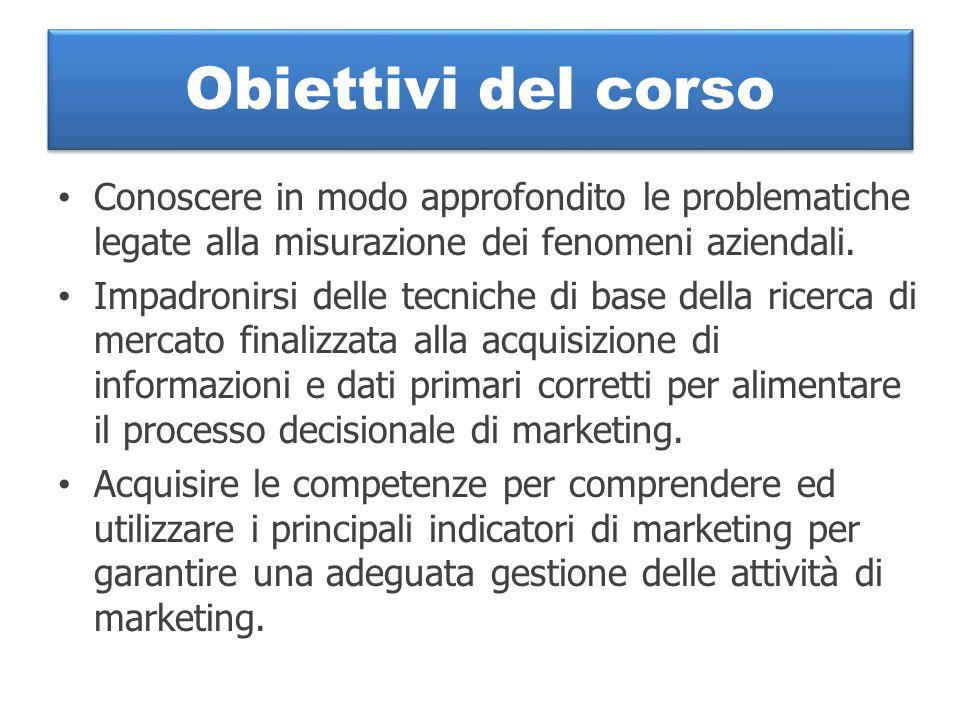 Obiettivi del corso Conoscere in modo approfondito le problematiche legate alla misurazione dei fenomeni aziendali.