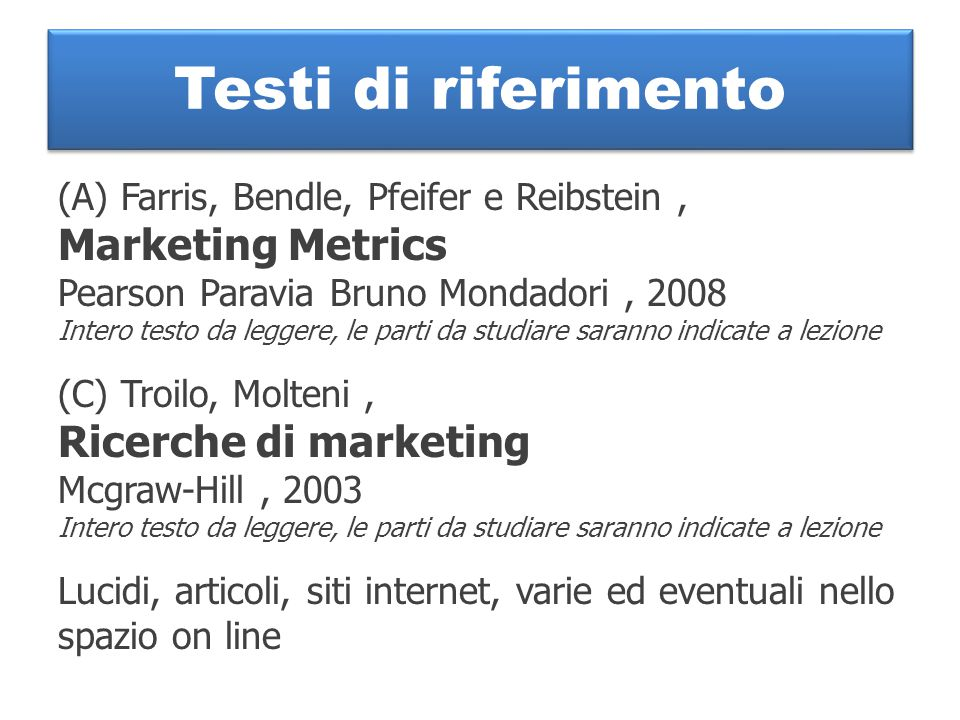 Testi di riferimento (A) Farris, Bendle, Pfeifer e Reibstein, Marketing Metrics Pearson Paravia Bruno Mondadori, 2008 Intero testo da leggere, le part