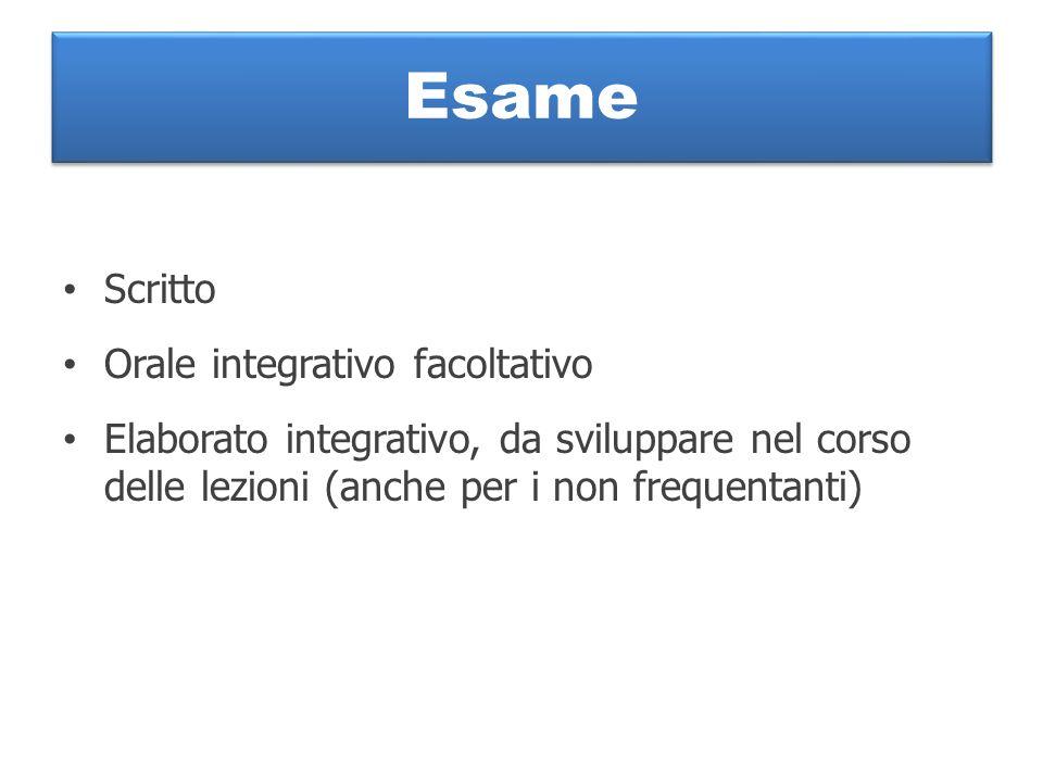 Esame Scritto Orale integrativo facoltativo Elaborato integrativo, da sviluppare nel corso delle lezioni (anche per i non frequentanti)