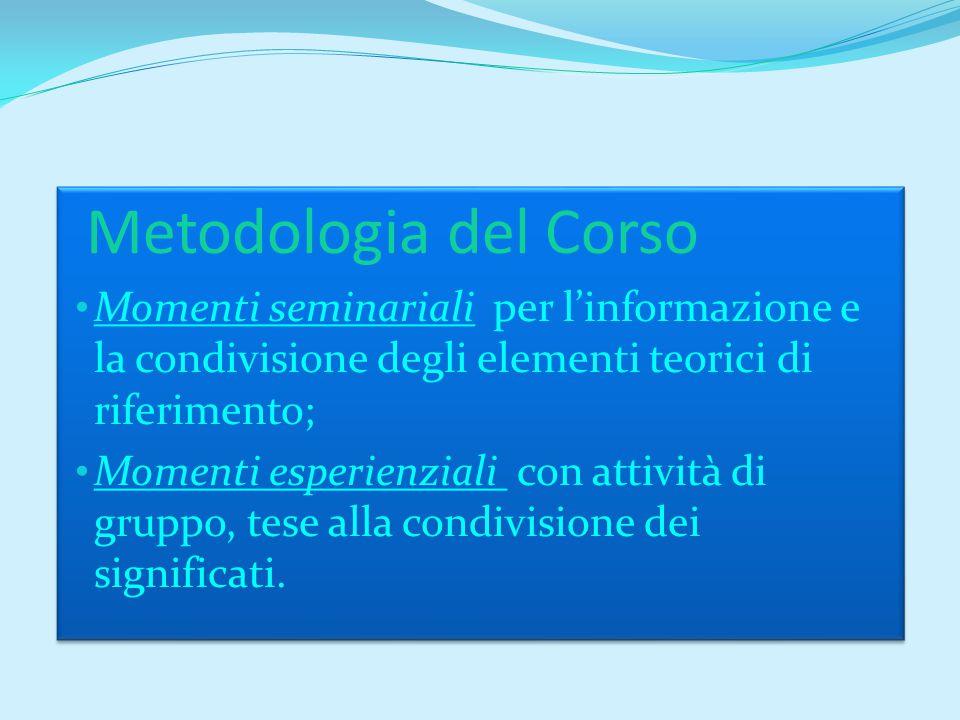 Metodologia del Corso Momenti seminariali per l'informazione e la condivisione degli elementi teorici di riferimento; Momenti esperienziali con attività di gruppo, tese alla condivisione dei significati.