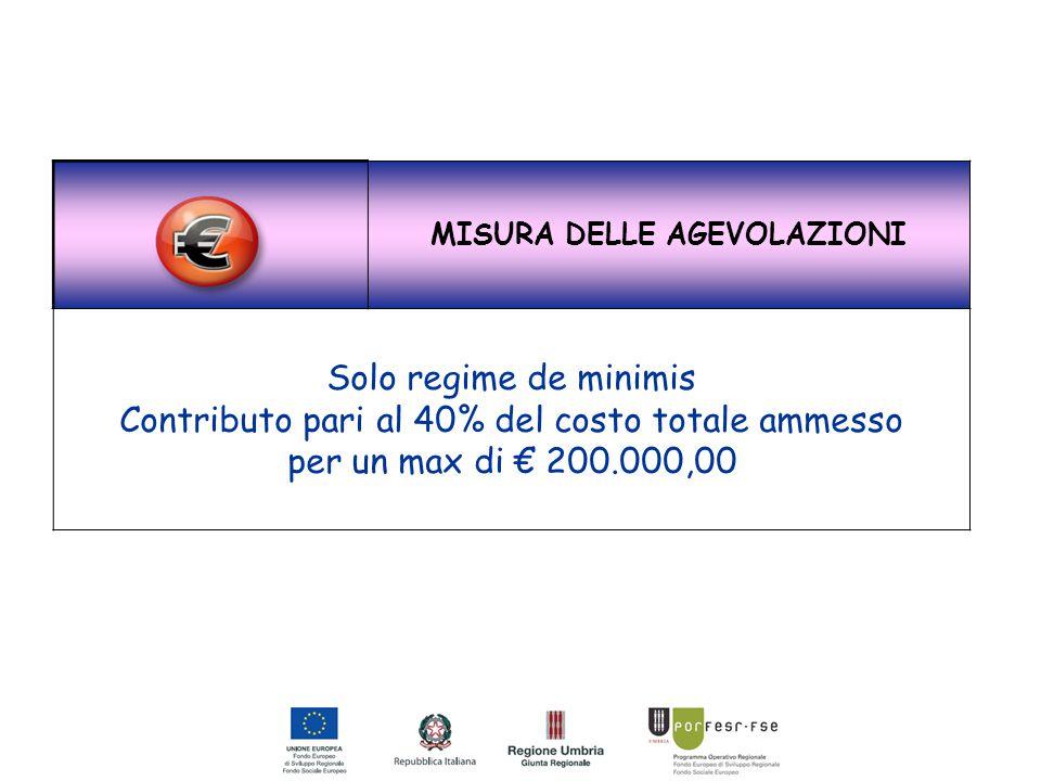 MISURA DELLE AGEVOLAZIONI Solo regime de minimis Contributo pari al 40% del costo totale ammesso per un max di € 200.000,00