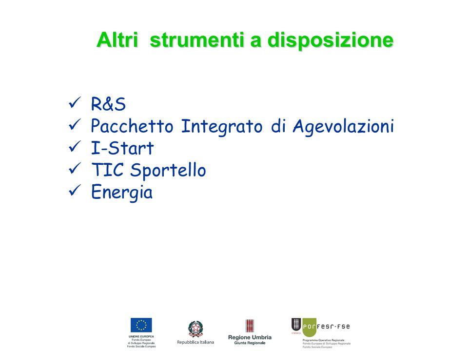 Altri strumenti a disposizione R&S Pacchetto Integrato di Agevolazioni I-Start TIC Sportello Energia