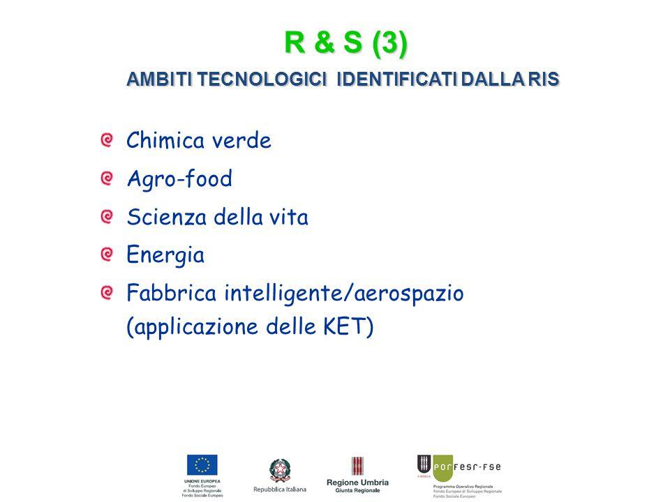 AMBITI TECNOLOGICI IDENTIFICATI DALLA RIS Chimica verde Agro-food Scienza della vita Energia Fabbrica intelligente/aerospazio (applicazione delle KET) R & S (3)