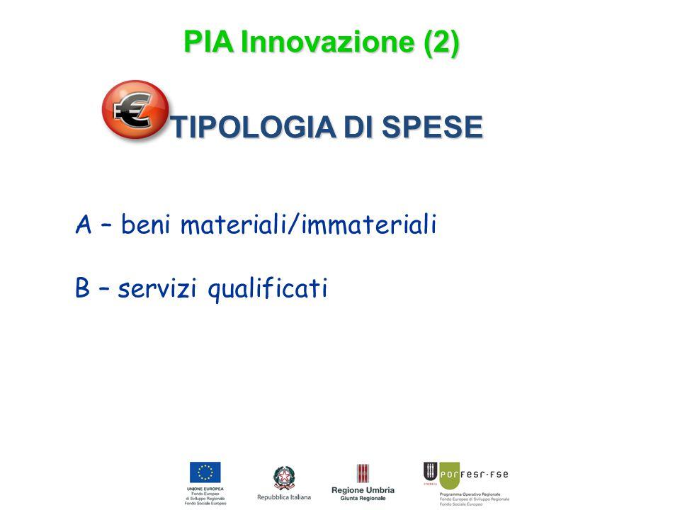 TIPOLOGIA DI SPESE A – beni materiali/immateriali B – servizi qualificati PIA Innovazione (2)