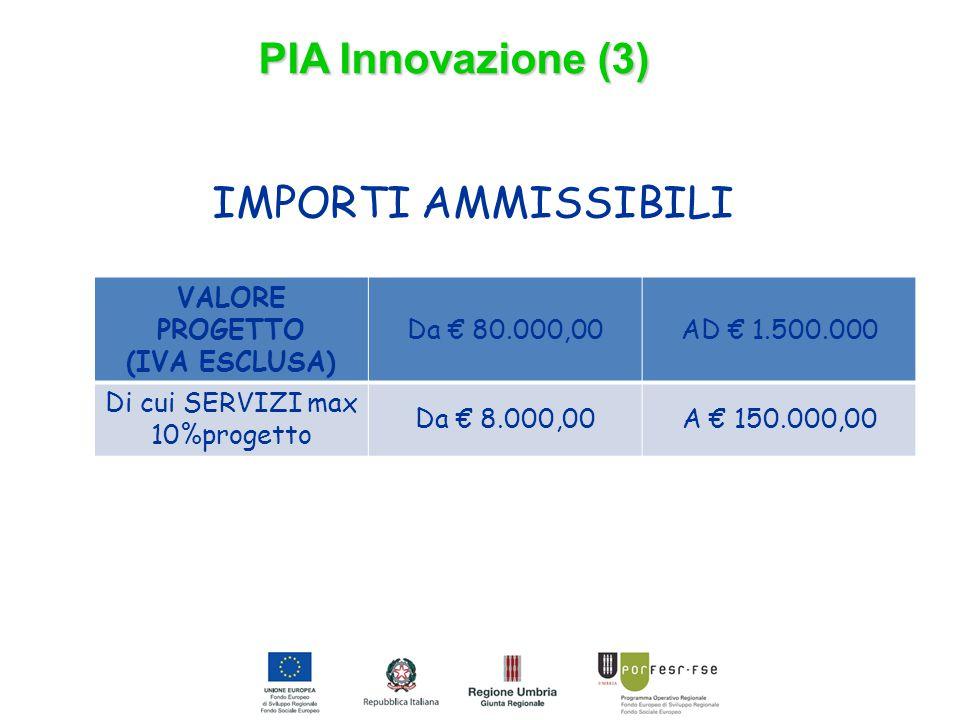 IMPORTI AMMISSIBILI PIA Innovazione (3) VALORE PROGETTO (IVA ESCLUSA) Da € 80.000,00AD € 1.500.000 Di cui SERVIZI max 10%progetto Da € 8.000,00A € 150.000,00