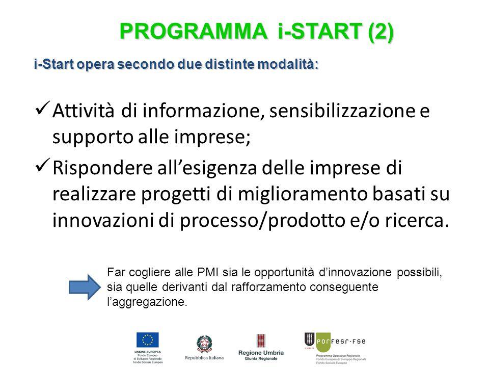 i-Start opera secondo due distinte modalità: Attività di informazione, sensibilizzazione e supporto alle imprese; Rispondere all'esigenza delle imprese di realizzare progetti di miglioramento basati su innovazioni di processo/prodotto e/o ricerca.