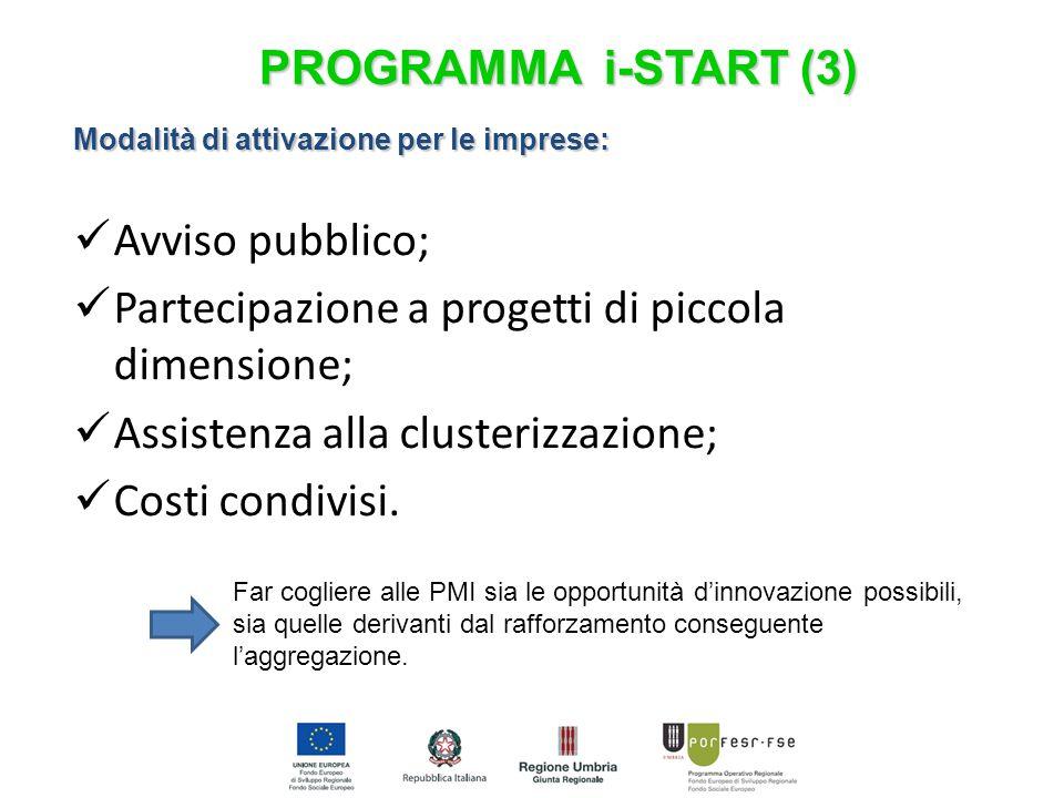 Modalità di attivazione per le imprese: Avviso pubblico; Partecipazione a progetti di piccola dimensione; Assistenza alla clusterizzazione; Costi cond