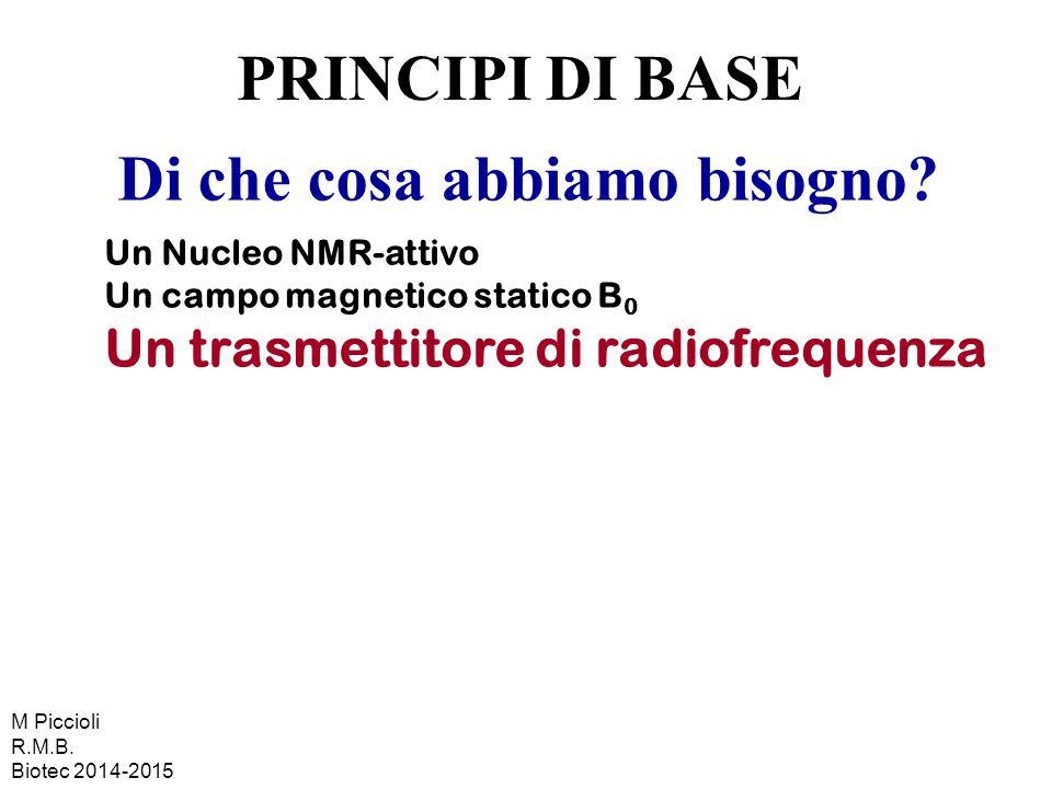 Di che cosa abbiamo bisogno? Un Nucleo NMR-attivo Un campo magnetico statico B 0 Un trasmettitore di radiofrequenza PRINCIPI DI BASE M Piccioli R.M.B.