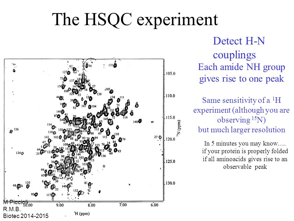 The HSQC experiment In 5 minutes you may know….