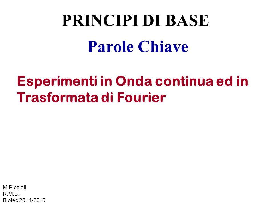 Parole Chiave Esperimenti in Onda continua ed in Trasformata di Fourier PRINCIPI DI BASE M Piccioli R.M.B. Biotec 2014-2015