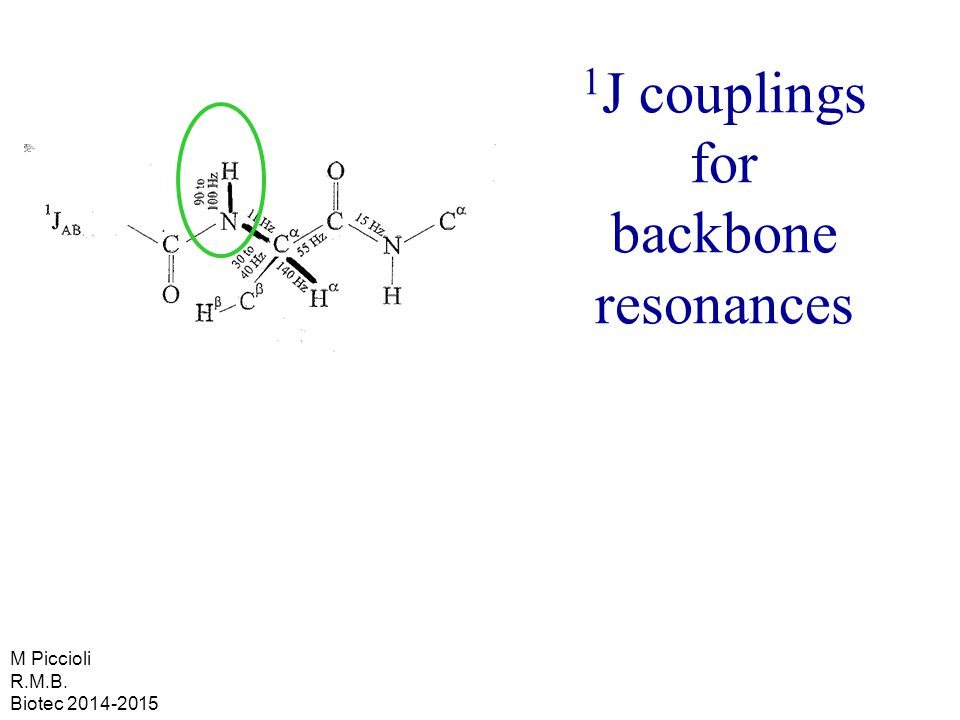 1 J couplings for backbone resonances M Piccioli R.M.B. Biotec 2014-2015