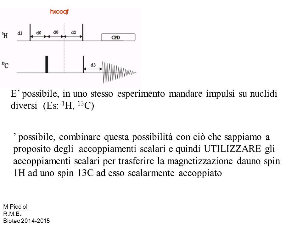 E' possibile, in uno stesso esperimento mandare impulsi su nuclidi diversi (Es: 1 H, 13 C) ' possibile, combinare questa possibilità con ciò che sappi