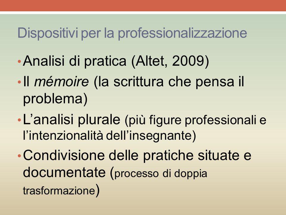 Dispositivi per la professionalizzazione Analisi di pratica (Altet, 2009) Il mémoire (la scrittura che pensa il problema) L'analisi plurale (più figur