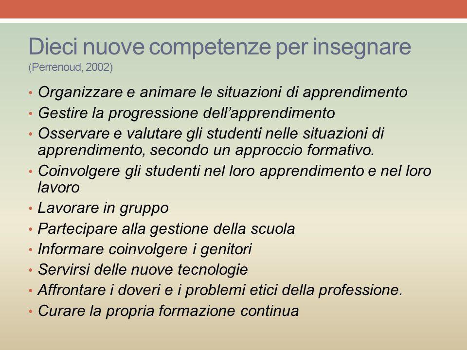 Dieci nuove competenze per insegnare (Perrenoud, 2002) Organizzare e animare le situazioni di apprendimento Gestire la progressione dell'apprendimento