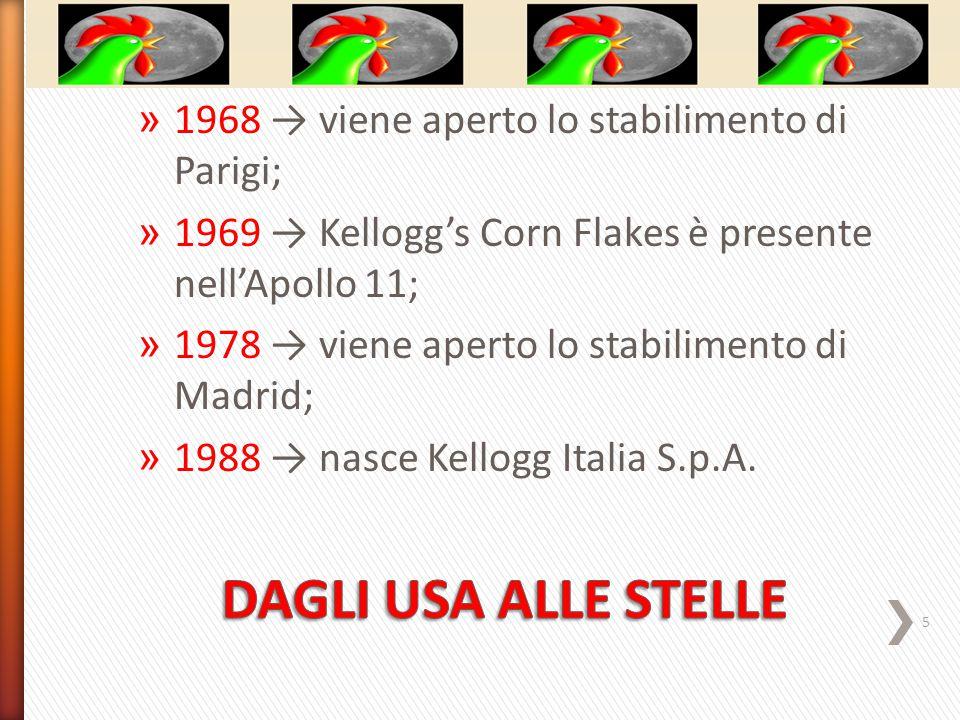 » 1968 → viene aperto lo stabilimento di Parigi; » 1969 → Kellogg's Corn Flakes è presente nell'Apollo 11; » 1978 → viene aperto lo stabilimento di Madrid; » 1988 → nasce Kellogg Italia S.p.A.