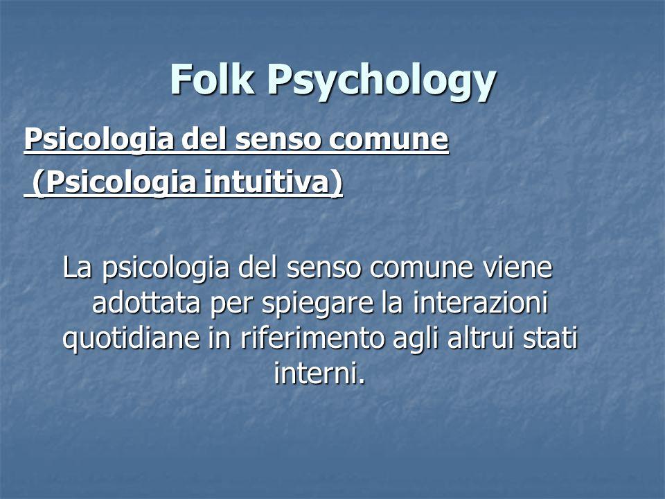 Folk Psychology Psicologia del senso comune (Psicologia intuitiva) (Psicologia intuitiva) La psicologia del senso comune viene adottata per spiegare la interazioni quotidiane in riferimento agli altrui stati interni.