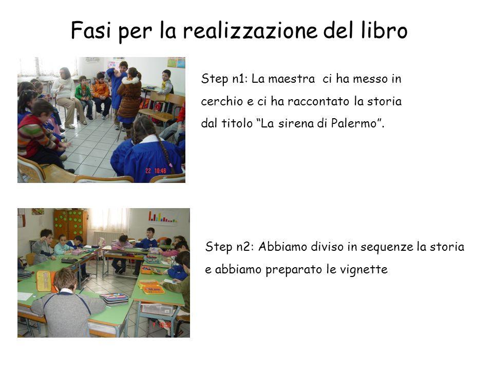 """Fasi per la realizzazione del libro Step n1: La maestra ci ha messo in cerchio e ci ha raccontato la storia dal titolo """"La sirena di Palermo"""". Step n2"""
