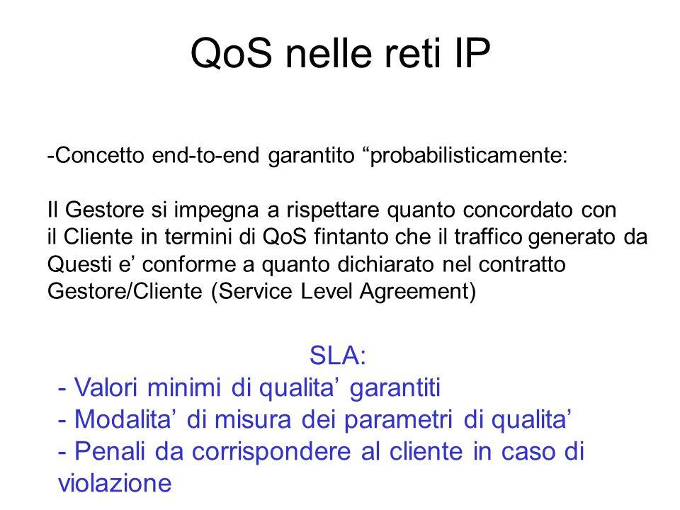 """QoS nelle reti IP -Concetto end-to-end garantito """"probabilisticamente: Il Gestore si impegna a rispettare quanto concordato con il Cliente in termini"""