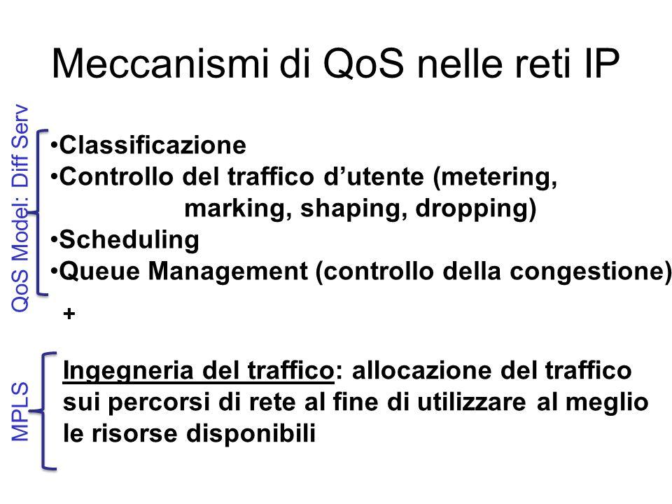 Meccanismi di QoS nelle reti IP Classificazione Controllo del traffico d'utente (metering, marking, shaping, dropping) Scheduling Queue Management (controllo della congestione) + Ingegneria del traffico: allocazione del traffico sui percorsi di rete al fine di utilizzare al meglio le risorse disponibili QoS Model: Diff Serv MPLS