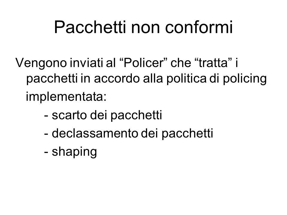 """Pacchetti non conformi Vengono inviati al """"Policer"""" che """"tratta"""" i pacchetti in accordo alla politica di policing implementata: - scarto dei pacchetti"""