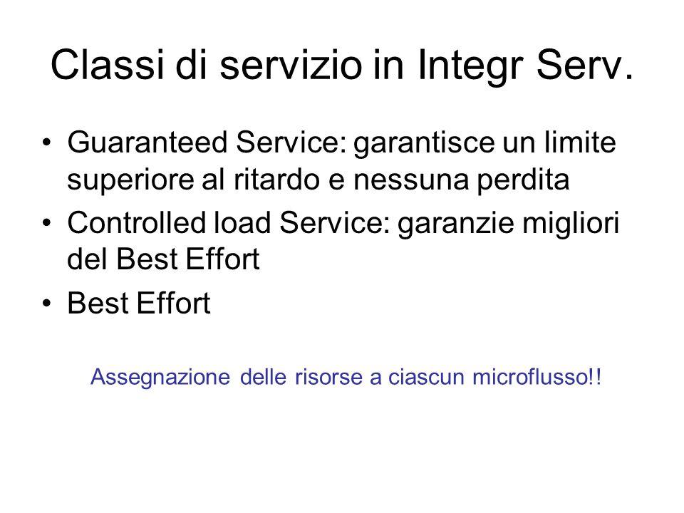 Classi di servizio in Integr Serv. Guaranteed Service: garantisce un limite superiore al ritardo e nessuna perdita Controlled load Service: garanzie m