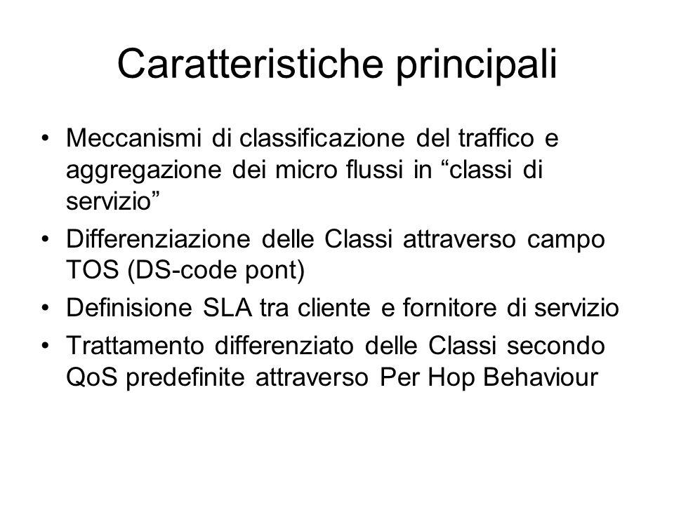 """Caratteristiche principali Meccanismi di classificazione del traffico e aggregazione dei micro flussi in """"classi di servizio"""" Differenziazione delle C"""