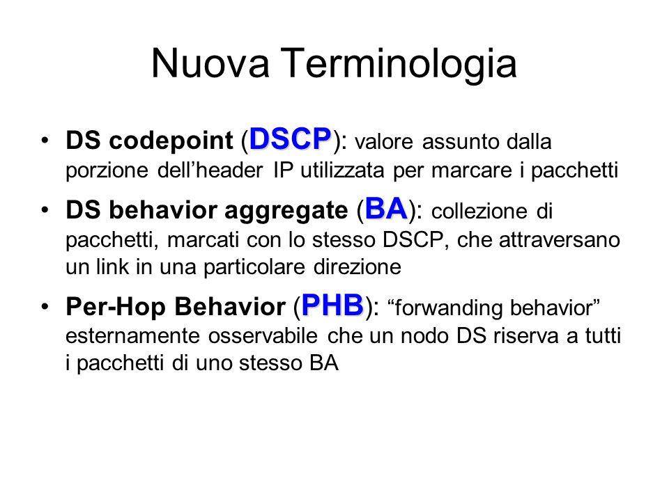 Nuova Terminologia DSCPDS codepoint ( DSCP ): valore assunto dalla porzione dell'header IP utilizzata per marcare i pacchetti BADS behavior aggregate ( BA ): collezione di pacchetti, marcati con lo stesso DSCP, che attraversano un link in una particolare direzione PHBPer-Hop Behavior ( PHB ): forwanding behavior esternamente osservabile che un nodo DS riserva a tutti i pacchetti di uno stesso BA