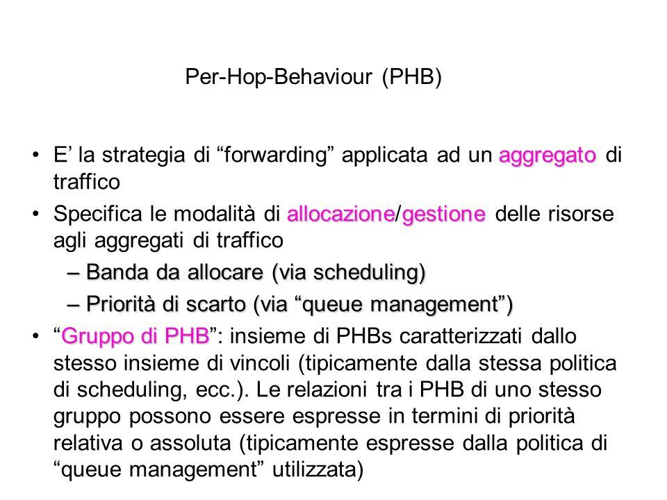 Per-Hop-Behaviour (PHB) aggregatoE' la strategia di forwarding applicata ad un aggregato di traffico allocazionegestioneSpecifica le modalità di allocazione/gestione delle risorse agli aggregati di traffico – Banda da allocare (via scheduling) – Priorità di scarto (via queue management ) Gruppo di PHB Gruppo di PHB : insieme di PHBs caratterizzati dallo stesso insieme di vincoli (tipicamente dalla stessa politica di scheduling, ecc.).