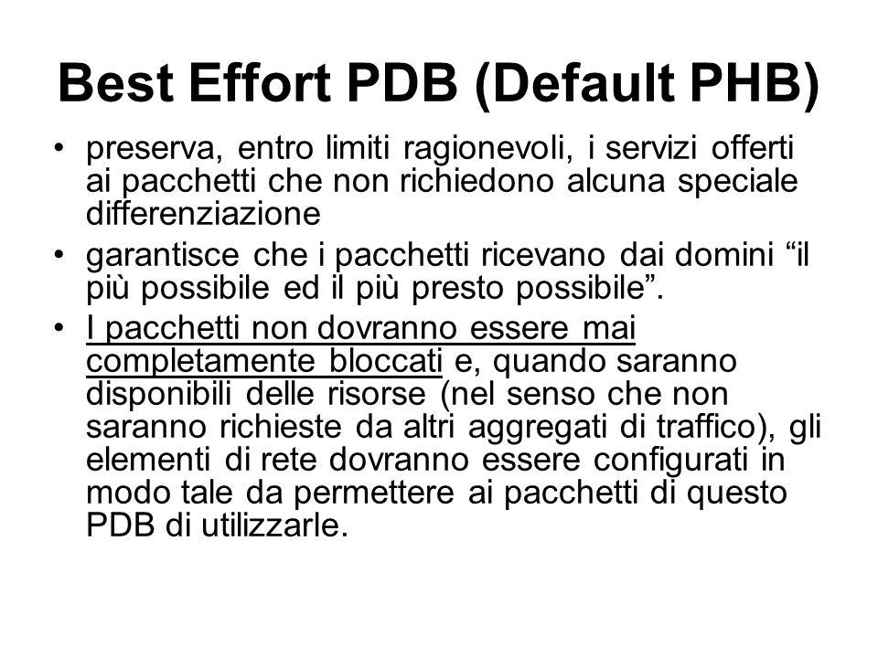 Best Effort PDB (Default PHB) preserva, entro limiti ragionevoli, i servizi offerti ai pacchetti che non richiedono alcuna speciale differenziazione garantisce che i pacchetti ricevano dai domini il più possibile ed il più presto possibile .