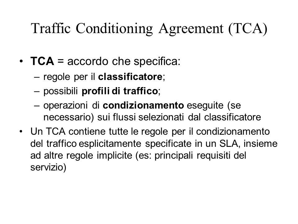 Traffic Conditioning Agreement (TCA) TCA = accordo che specifica: –regole per il classificatore; –possibili profili di traffico; –operazioni di condizionamento eseguite (se necessario) sui flussi selezionati dal classificatore Un TCA contiene tutte le regole per il condizionamento del traffico esplicitamente specificate in un SLA, insieme ad altre regole implicite (es: principali requisiti del servizio)