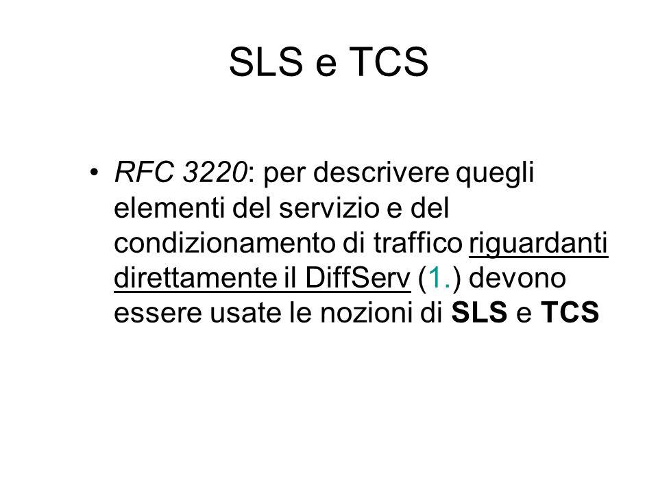 SLS e TCS RFC 3220: per descrivere quegli elementi del servizio e del condizionamento di traffico riguardanti direttamente il DiffServ (1.) devono essere usate le nozioni di SLS e TCS