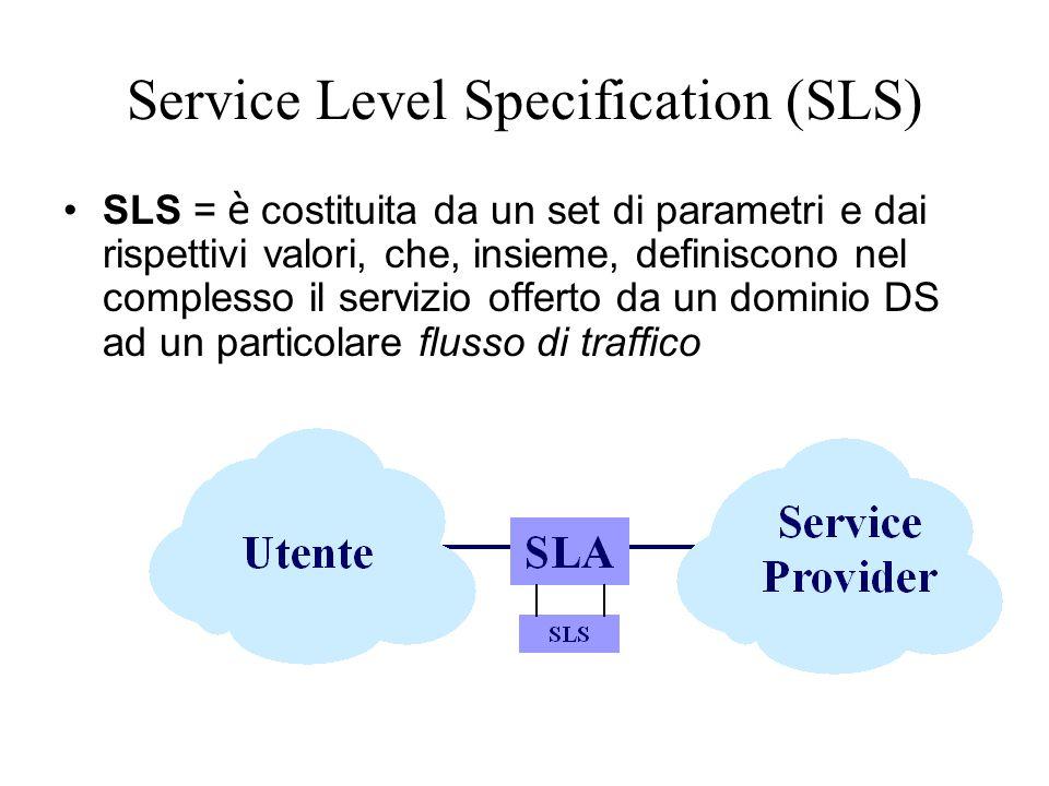 Service Level Specification (SLS) SLS = è costituita da un set di parametri e dai rispettivi valori, che, insieme, definiscono nel complesso il servizio offerto da un dominio DS ad un particolare flusso di traffico