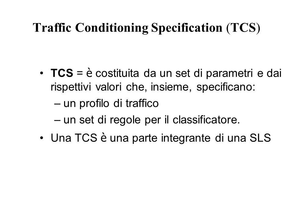 Traffic Conditioning Specification (TCS) TCS = è costituita da un set di parametri e dai rispettivi valori che, insieme, specificano: –un profilo di traffico –un set di regole per il classificatore.